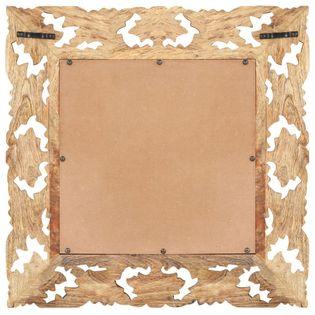 Lumarko Lustro w ręcznie rzeźbionej, brązowej ramie, 50x50 cm, mango
