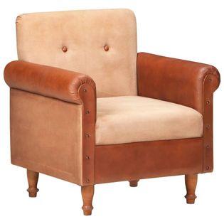 Fotel klubowy, brązowy, skóra naturalna i płótno