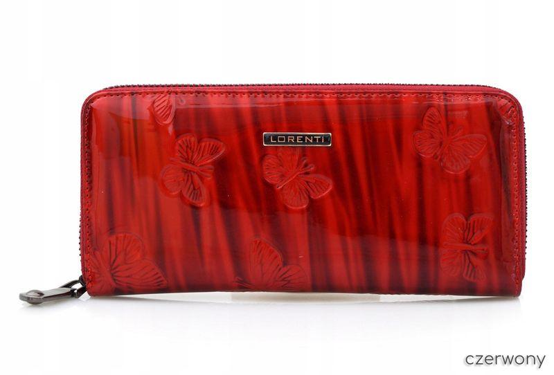LORENTI portfel skórzany damski motyle suwak P041 czerwony zdjęcie 2