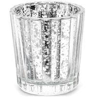 srebrny ŚWIECZNIK szklany TEALIGHT lustrzany x4