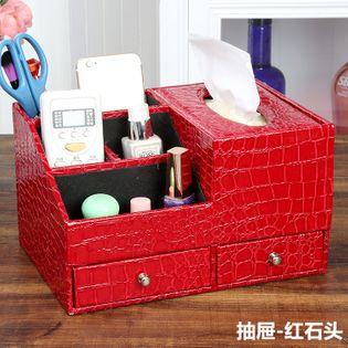 Skórzany  Organizer Kosmetyczny - Na Biżuterię Z Szufladami red stone M