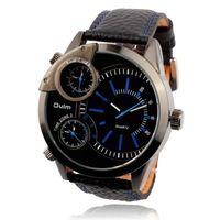 Zegarek męski Oulm 3136, trzy czasy, skórzany pasek, dwa kolory