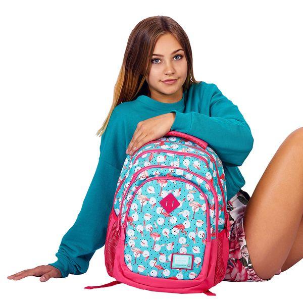 Plecak szkolny młodzieżowy Astra Head HD-83, miętowo-różowy we flamingi zdjęcie 4
