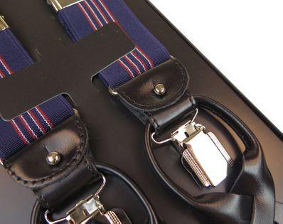 Szelki do spodni na guziki - granatowe z wąskimi biało-czerwonymi paskami G22