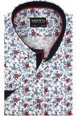Koszula Męska Sefiro biała w czerwone kwiaty SLIM FIT na krótki rękaw K910 L 41 176/182