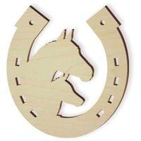 drewniana PODKOWA z końmi dekoracja KOŃ 10 szt
