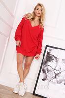 Oversize'owa bluza z dekoltem w serek - Czerwony U