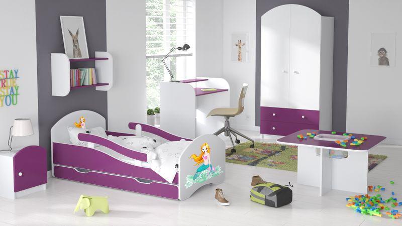 Łóżko dziecięce łóżeczko 140x70 biały / fiolet szuflada materac zdjęcie 9