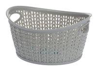 Koszyk kosz owalny organizer WILLOW 1,5 l szary jasny ażurowy sweterkowy wzór