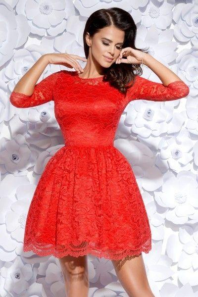 7859bfefcb Rozkloszowana sukienka pokryta koronką - czerwona Rozmiar - L • Arena.pl