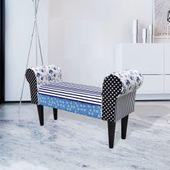 Patchworkowa ławka, wiejski styl niebiesko-biała