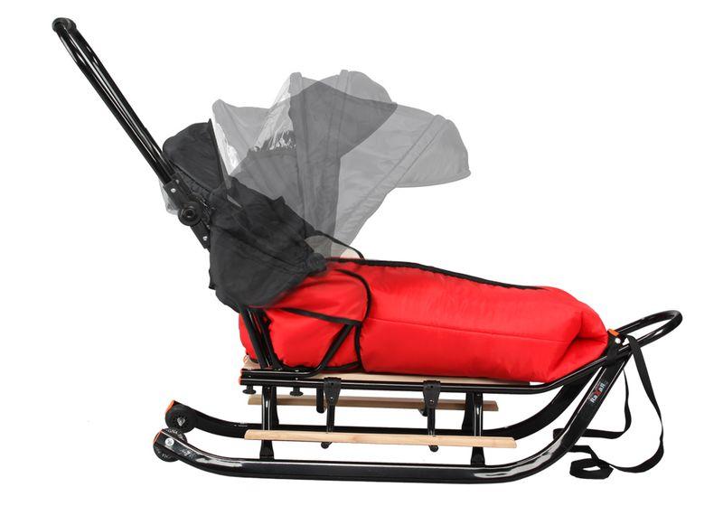 SANKI dla dzieci z budką (czarne) +śpiwór + pchacz + podnóżki + kółka zdjęcie 11