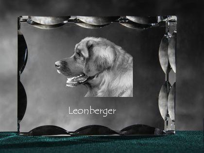 Leoneberger - kryształowy sześcian z wizerunkiem psa, wyjątkowy prezent!