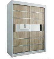 Szafa przesuwna garderoba Verona 3-150 z lustrem biała wenge sonoma