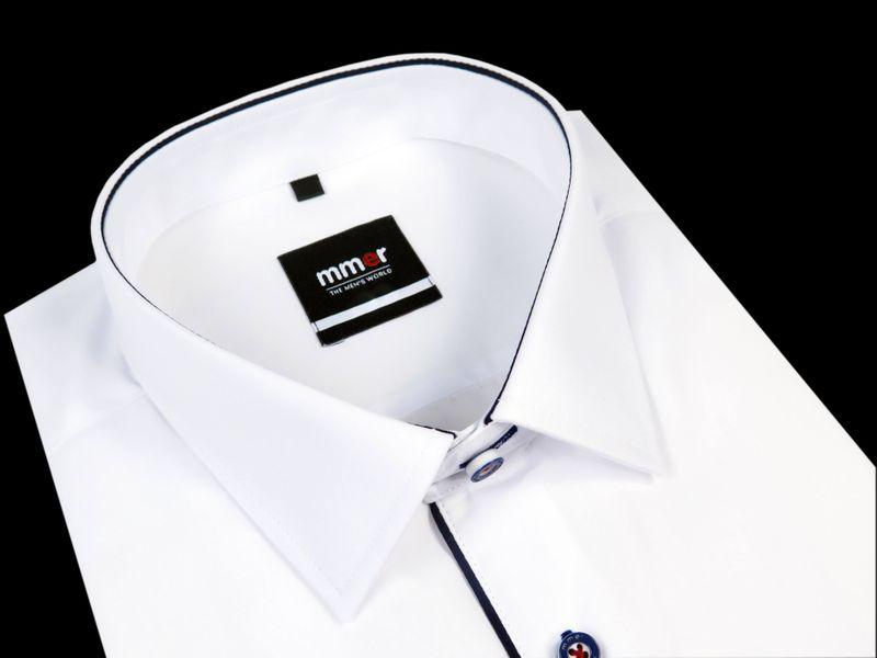 Biała koszula Mmer z granatową lamówką 131 Rozmiar koszuli i  IYKf1