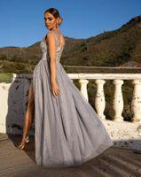 CHIARA - długa suknia wieczorowa-srebrny S (36)