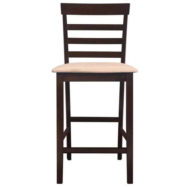 Stół I Krzesła Barowe, Lite Drewno, Ciemnobrązowe zdjęcie 6