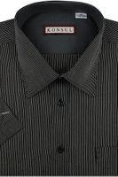 Koszula Męska Konsul czarna w paski w kroju REGULAR na krótki rękaw K960 M 39 170/176
