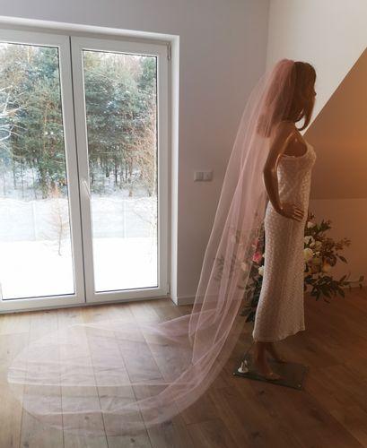 Welon ślubny długi różowy 3m kościelny grzebień PL na Arena.pl
