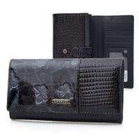 CAVALDI portfel skórzany damski lakier motyle kroko P001 czarny