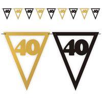 Banner flagi 40 URODZINY czarno złoty XL 3,6 m