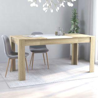 Stół, kolor biały i dąb sonoma, 160x80x76 cm, płyta wiórowa