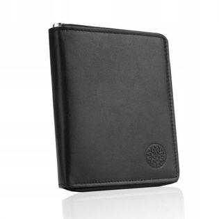 BETLEWSKI Skórzany portfel męski RFID suwak duży
