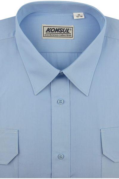 Koszula Męska Konsul gładka niebieska z pagonami w kroju REGULAR na krótki rękaw K957 XXL 44 176/182 zdjęcie 1