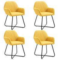 Krzesła Do Jadalni, 4 Szt., Żółte, Tapicerowane Tkaniną