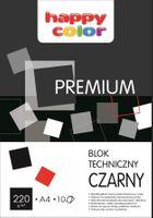 BLOK TECHNICZNY CZARNY A4 HAPPY COLOR PREMIUM 220G