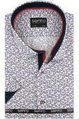 Koszula Męska Sefiro biała w granatowe kwiatki SLIM FIT na krótki rękaw K771 L 41 176/182