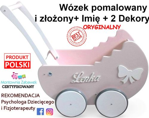PIĘKNY DREWNIANY WÓZEK DLA LALEK IMIĘ POŚCIEL Pr%m Montownia Zabawek na Arena.pl
