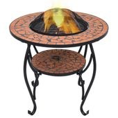 VidaXL Mozaikowe palenisko ze stolikiem, terakota, 68 cm, ceramika