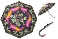 Automatyczna długa parasolka damska z falbanką, lilie o zachodzie słońca