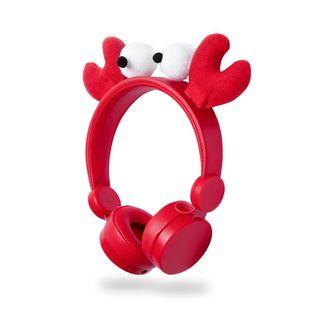 Słuchawki przewodowe Nedis | Okrągły kabel 1,2 m | Nauszne | Odpinane uszy magnetyczne | Chrissy Crab | Czerwony