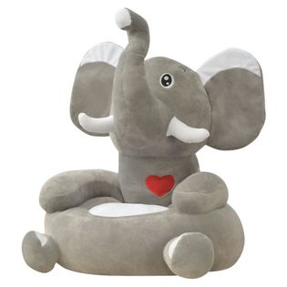 Fotel dla dzieci słoń, pluszowy, szary