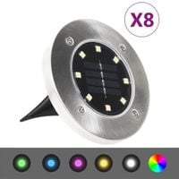 Lumarko Solarne lampy gruntowe LED, 8 szt., kolory RGB!