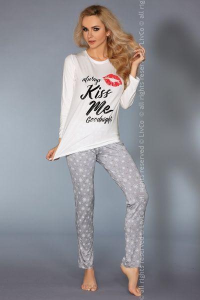 392a3ad6d1c03a Damska piżama szary szara biały biała dwuczęściowa bawełna wiskoza długie  spodnie bluza L XL zdjęcie 2