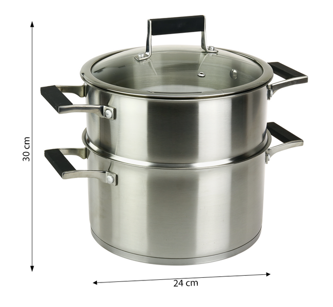 Garnek do gotowania na parze ze stali nierdzewnej 24 cm zdjęcie 3