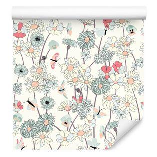 Tapeta na korytarz dzikie kwiaty polne motyle