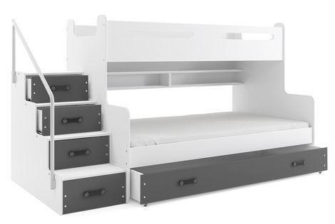 Łóżko dziecięce MAX 3 dla dzieci piętrowe 3 osobowe 200x120 + SZUFLADA