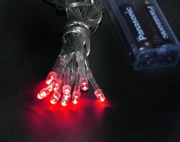 Lampki 10 LED na baterie - czerwony zdjęcie 3