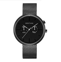 Zegarek premium GeekThink z datownikiem na czarnej bransolecie mesh