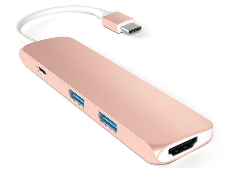Satechi Multi Port USB-C adapter USB, USB-C, HDMI 4K Rose Gold zdjęcie 2