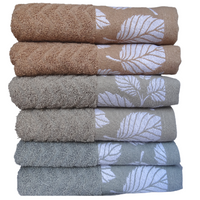 Komplet ręczników kąpielowych 50x100 cm 6szt. (wzór: liście;  kolory ziemi)