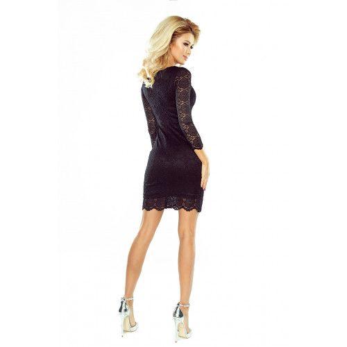 Sukienka koronkowa z ozdobnymi wykończeniami - CZARNA XL zdjęcie 2