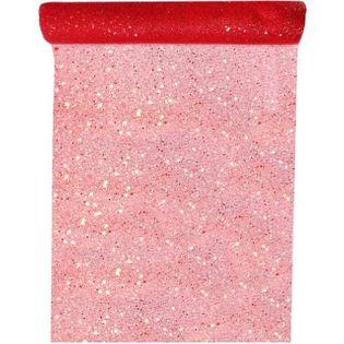 "Bieżnik ""Brokat"", czerwony, SANTEX, 500 x 30 cm"