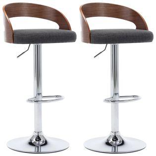 Lumarko Krzesła barowe, 2 szt., ciemnoszare, tkanina i gięte drewno
