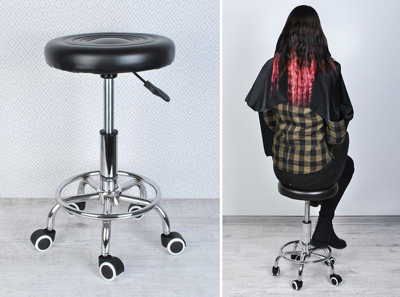 Stołek Fryzjerski Kosmetyczny Krzesło HOKER czarny 5178 zdjęcie 4