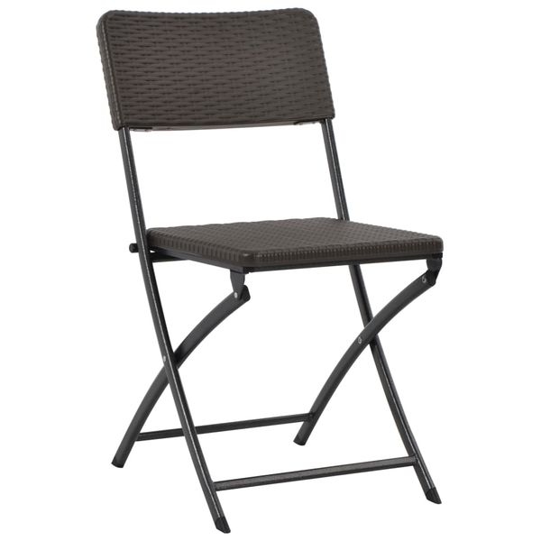 Składane Krzesła Ogrodowe 2 Szt Hdpe Brąz Rattanowy Wygląd Gxp 676007